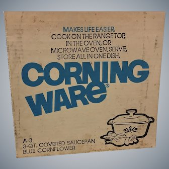 RARE Unopened Vintage 3 QT. Corning Ware Covered Sauce Pan Vintage Kitchen Cooking