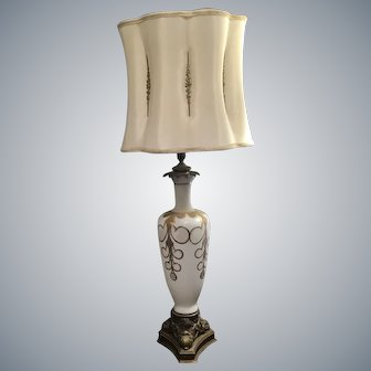Impressive Vintage Hollywood Regency Lamp with Original Inlay Shade