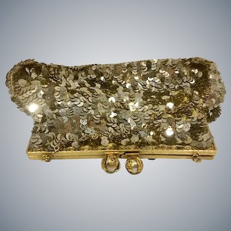 Gorgeous Vintage Gold Sequin Clutch