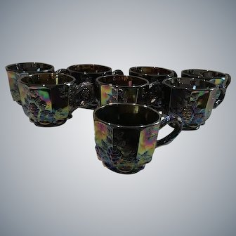 Exceptional Carnival Glass Fenton Northwood Grape Tea Cup Set of 8