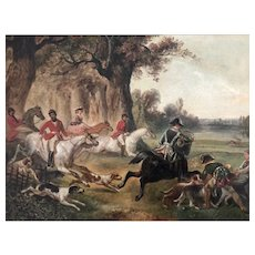 19th century Oil Painting on Canvas - Hunting Scene, Horses, Horserider