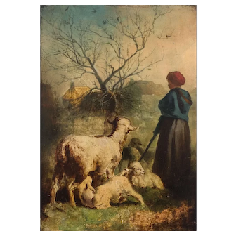 19th century Oil Painting - Sheep, Farmer, Landscape