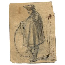 19th century Ink Drawing, Vintage Figure Drawings, Man with a Hoop 1820