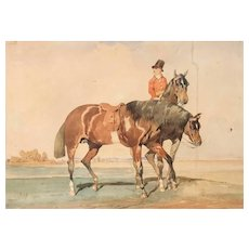 19th century Watercolor Drawing around Alfred DE DREUX - Horserider, Horse