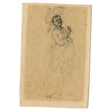 19th century Vintage Pencil Drawing - Black Woman with an Umbrella