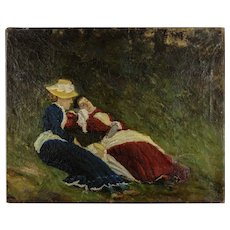 Original Impressionist Oil Painting - Two Women Lying on the Grass