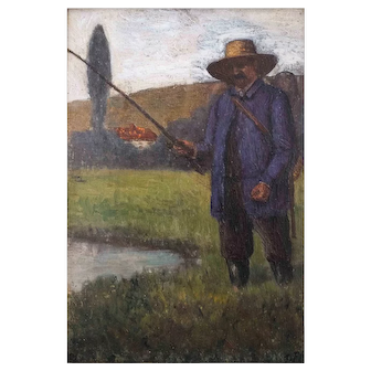 Antique Fishing Painting, Fishing Oil Paintings, Original Fishing Painting