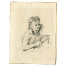 19th century Vintage Pencil Drawing - Woman with a Mirror