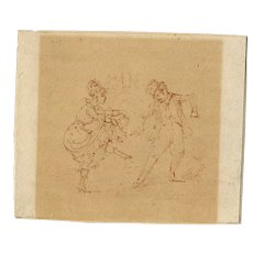 19th century Vintage Ink Drawing - Dancing Man and Woman