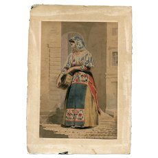 19th century Vintage Watercolor Drawing - Italian Woman