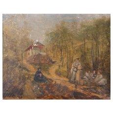 Original 19th century Oil Painting,  oil painting landscape original, Figures