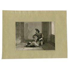 19th century Vintage Ink Drawing - Killer - sanderson 1840