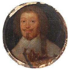 17th century Miniature Portrait Painting, Miniature Portrait Gentleman, Miniature Antique