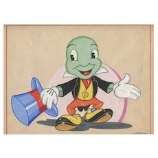 Original Gouache Drawing  - Jiminy Cricket - Disney, Pinocchio 1957 Gouache on paper