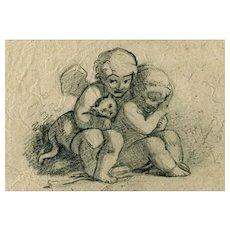 19th century Vintage Pencil Drawing - Dessin Ancien - Angels, Kids and Cat