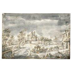 Old Master 18th century Ink Drawing - Venitian School - Italian Landscape