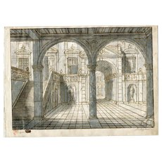Old 18th century Ink Drawing - Architecture, inside a Palace in Venezzia