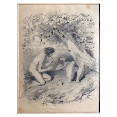 Original Old Pencil Antique Drawing - 19th century - Adam and Eve before the Sin