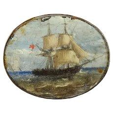Antique Miniature Oil Painting, Miniature Maritime, Boat