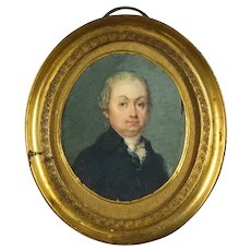 19th century Miniature Portrait Painting, Miniature Portrait Gentleman, Miniature Antique