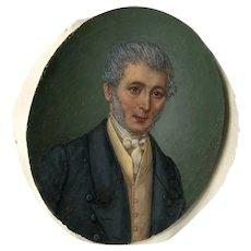 19th century Miniature Portrait Painting, Miniature Portrait Gentleman, Miniature Antique