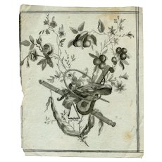 Old Vintage Ink Drawing - Dessin Ancien - Old Masters - Music Instruments