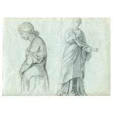 19th century Vintage Drawing - Dessin Ancien - Woman with Horn