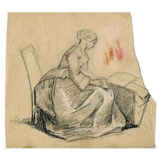 19th century Vintage Pencil Drawing - Dessin Ancien - Woman Sitting
