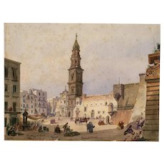 19th century Vintage Drawing - Piazza del Carmine 1843 - Moretti / Ch. Bordo