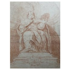 19th century Old Vintage Drawing - Dessin Ancien - Religious Man, Pope