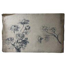 19th century Vintage Ink Drawing - Dessin Ancien - Fleurs, Flowers