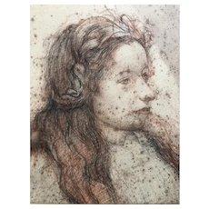19th century Old Vintage Drawing - Dessin Ancien - Woman Portrait, Elf