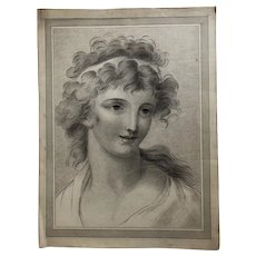 19th century Vintage Drawing - Dessin Ancien - Woman Portrait