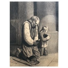 19th century Old Vintage Drawing - Dessin Ancien - Man, Kid Praying