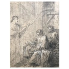 19th century Vintage Drawing - Dessin Ancien - Religious Scene