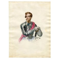 19th century Vintage Drawing - Soldier Portrait