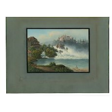 Old Master Antique Drawing - Rhine Fall - Landscape
