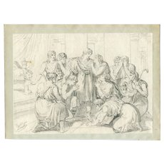 Old Master Drawing by Bartolomeo PINELLI (1781-1835) - Scene de Genre