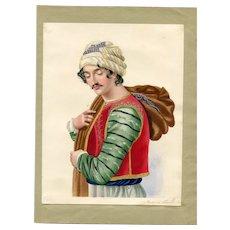 Old Master Antique Drawing - Travel, Turkish Man, Costume