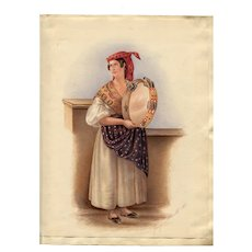 Old Master Antique Drawing - Woman with a Drum 1841