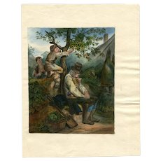 Old Master Antique Drawing - Children Picking up Fruits