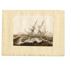 Old Master Ink Drawing - Antique, Vintage - Boat, Sea, Storm - signed