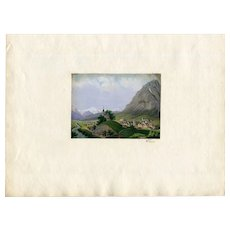 19th century Old Gouache Drawing - Mountain Landscape, Alpes