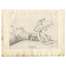 19th century Old Master Pencil Drawing - Man with Mandolina