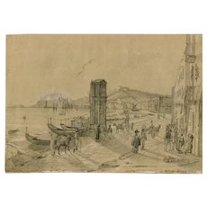 Vintage Antique Pencil Old Drawing - Italian Landscape, Seaview