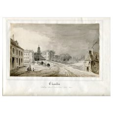 19th century Vintage Pencil Drawing - Dessin Ancien - Landscape, Charolles 1849