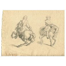 19th century Vintage Pencil Drawing - Dessin Ancien - Man on Horse