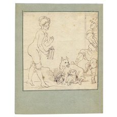 18th century Vintage Ink Drawing - Nude Woman and Animals