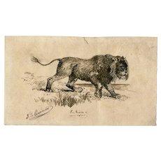 19th century Vintage Ink Drawing  by J. DE CAURMONT (XIX-XX) - The Lion