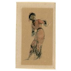 19th century Vintage Watercolor Drawing - Dancing Woman with a Red Dress